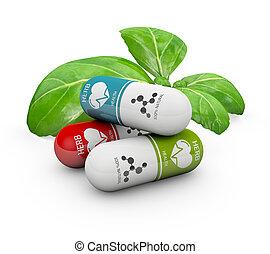 丸薬, 自然, ビタミン, イラスト, medicine., 選択肢, 3d