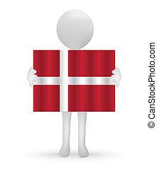 丹麦的旗, 握住, 小, 3d, 人