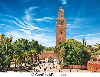 主要的广场, 在中, marrakesh, 在中, 老, medina., morocco.