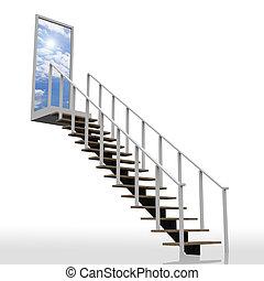主要, 向上, 天空, 梯子