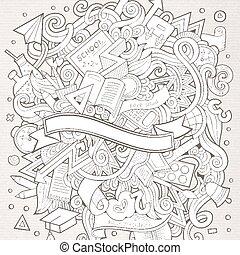 主題, いたずら書き, hand-drawn, education., ベクトル, 漫画
