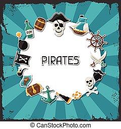 主題, オブジェクト, ステッカー, 海賊, 背景