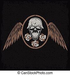 主題, グランジ, ラベル, 翼, 頭骨, 花, バイカー