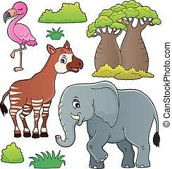 主題, セット, 4, アフリカ, 自然