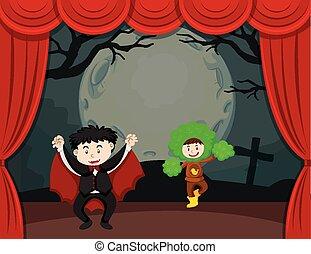 主題, ハロウィーン, 子供, ステージ