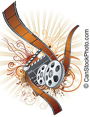 主題, フィルム, 映画, ストリップ, 要素