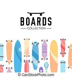 主題, ベクトル, スケートボード, イラスト, skateboarding