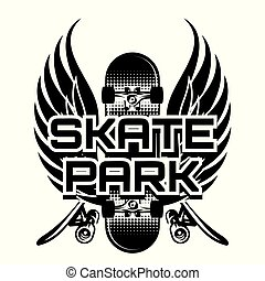 主題, ベクトル, 翼, イラスト, skateboarding