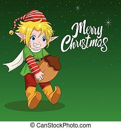 主題, 小精靈, 聖誕節, 插圖, 卡通