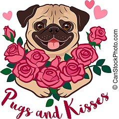 """主題, 恋人, テキスト, kisses"""", 束, ピンク, 面白い, バレンタイン, ペット, 愛, 隔離された, ロマンス語, 日, 保有物, デートする, 子犬, ばら, パグ, white., 子供, 犬, """"pugs, cartoon., ベクトル, 友人, 心"""