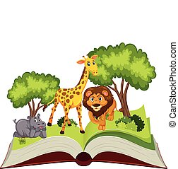 主題, 本, の上, ポンとはじけなさい, 動物