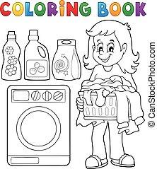主題, 本, 着色, 洗濯物