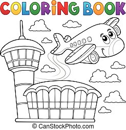 主題, 本, 飛行機, 3, 着色