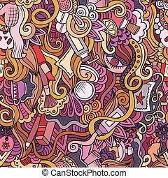 主題, 漫画, hand-drawn, 化粧品, doodles