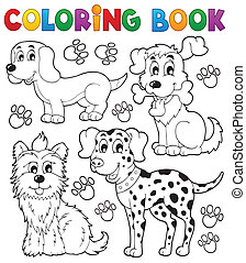 主題, 着色, 5, 本, 犬