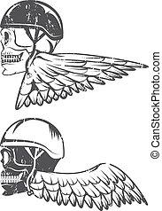 主題, 頭骨, バイカー, 翼, ラベル