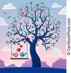 主題, 2, 樹, 鳥, 情人節