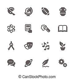 主題, icons., 学校, 単純である