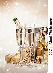 主题, 酒, 庆祝, 香槟酒