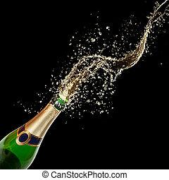 主题, 黑色的背景, 隔离, 庆祝, 飞溅, 香槟酒