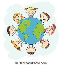 之外, 矢量, 地球, 孩子