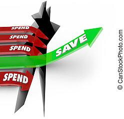 之外, vs, 花費, 箭, 上升, 節省錢, 未來, 投資