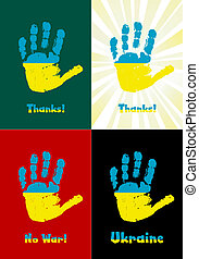 乌克兰, handprint, 孩子` s, 涂描, 旗, 矢量