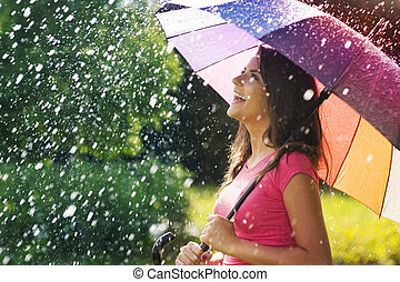 乐趣, 夏天, 许多, 如此, 大雨