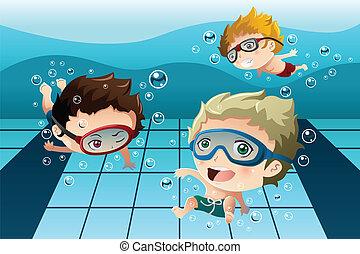 乐趣, 孩子, 有, 池, 游泳