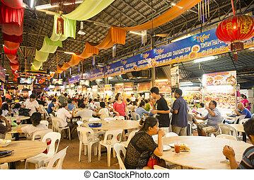 乔治城, penang, malaysia-august, 9, 2015, 很多, 在中, 在中的人们, 食物, 中心, 在, 乔治镇, penang, 马来西亚
