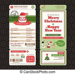 乗ること, デザイン, テンプレート, パス, 切符, クリスマスカード