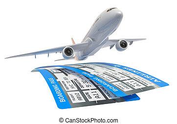 乗ること, 切符, 旅行, 2, レンダリング, 航空会社, パス, 飛行機, concept., 3d