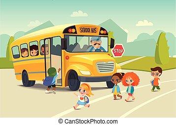 乗ること, 学校の 子供, road., flayer., バス, concept., 止まれ, 背中, ベクトル, bus., 乗馬, 子供, 交差, 安全, illustration.