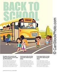 乗ること, 学校, flayer, road., バス, 子供, 背中, ベクトル, 子供, 安全, stop., 交差, bus., 描写, 渡ること, illustration.