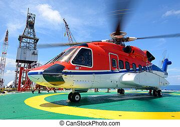 乗客, オイル, の上, プラットホーム, 一突き, 用具一式, ヘリコプター, 沖合いに