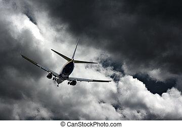 乗客 ジェット機, 嵐の空, に対して, 着陸