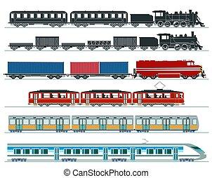 乗客, 地下鉄, 列車, 蒸気, スピード, train., 高く, イラスト, 列車, ベクトル, trains.