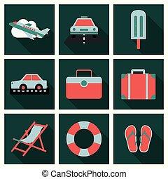 乗客, 平ら, セット, luggage., オブジェクト, アイコン, 飛行機, 休暇, 効果, 長い間, 計画, 夏, 旅行, 影, 観光事業, 旅行