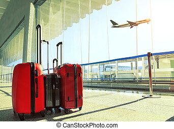 乗客, 手荷物, 上に, 飛行, 空, ターミナル, 空港, 飛行機, 旅行, 山