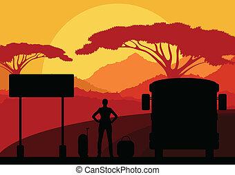 乗客, 観光客, 手荷物, バス, 自然, 前部, 待つこと, 野生, 風景