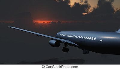乗客, 雲, ジェット機, 空, 航空機, 憂うつである, ∥間に∥