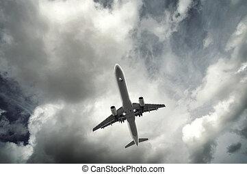 乗客, 飛行機, 離れて, 取得