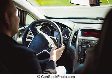 乗車, あごひげを生やしている, 自動車, 運転, 道, 中, 運転, 若い, ステアリング, 見る, 保有物, wheel., キャビン, 人
