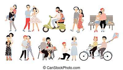 乗車, 別, セット, ロマンチック, カラフルである, 話すこと, 状態, 恋人, love., サイクリング, イラスト, ダンス, moped., 提案, ベクトル, 結婚, 歩くこと, 漫画, style., 抱き合う