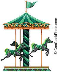 乗車, 回転木馬, 緑