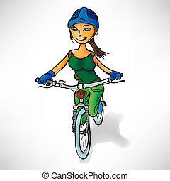 乗車, 女の子, 自転車, 緑