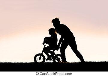 乗車, 子供, 訓練, 若い, 助力, 自転車, 父, 彼の, 学びなさい