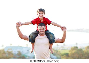 乗車, 父, 寄付, 息子, piggyback