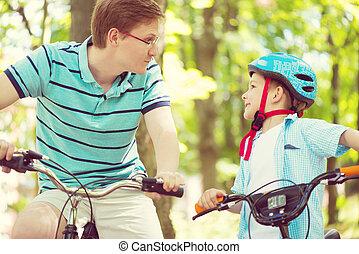 乗車, 父, 幸せ, 息子, 自転車