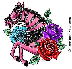 乗車, 白い背景, lllustration, 馬, ベクトル